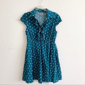 Bailey Blue Polka Dot Pin-Up Tulle Button Dress